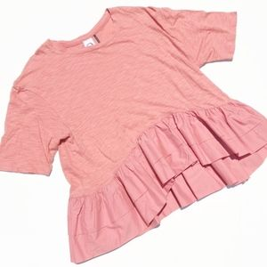 Anthro Akemi + Kin Cascade Blush Oversized Blouse